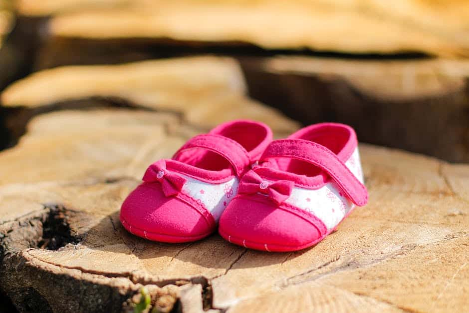 A close up of a baby shoe